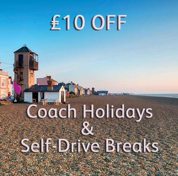 £10 OFF Coach Holidays and Self-Drive Breaks